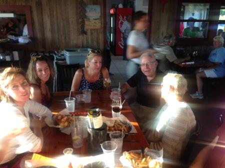 My three fantastic sisters, Lee, Annie and Joanna, enjoying life and lobster with my parents.