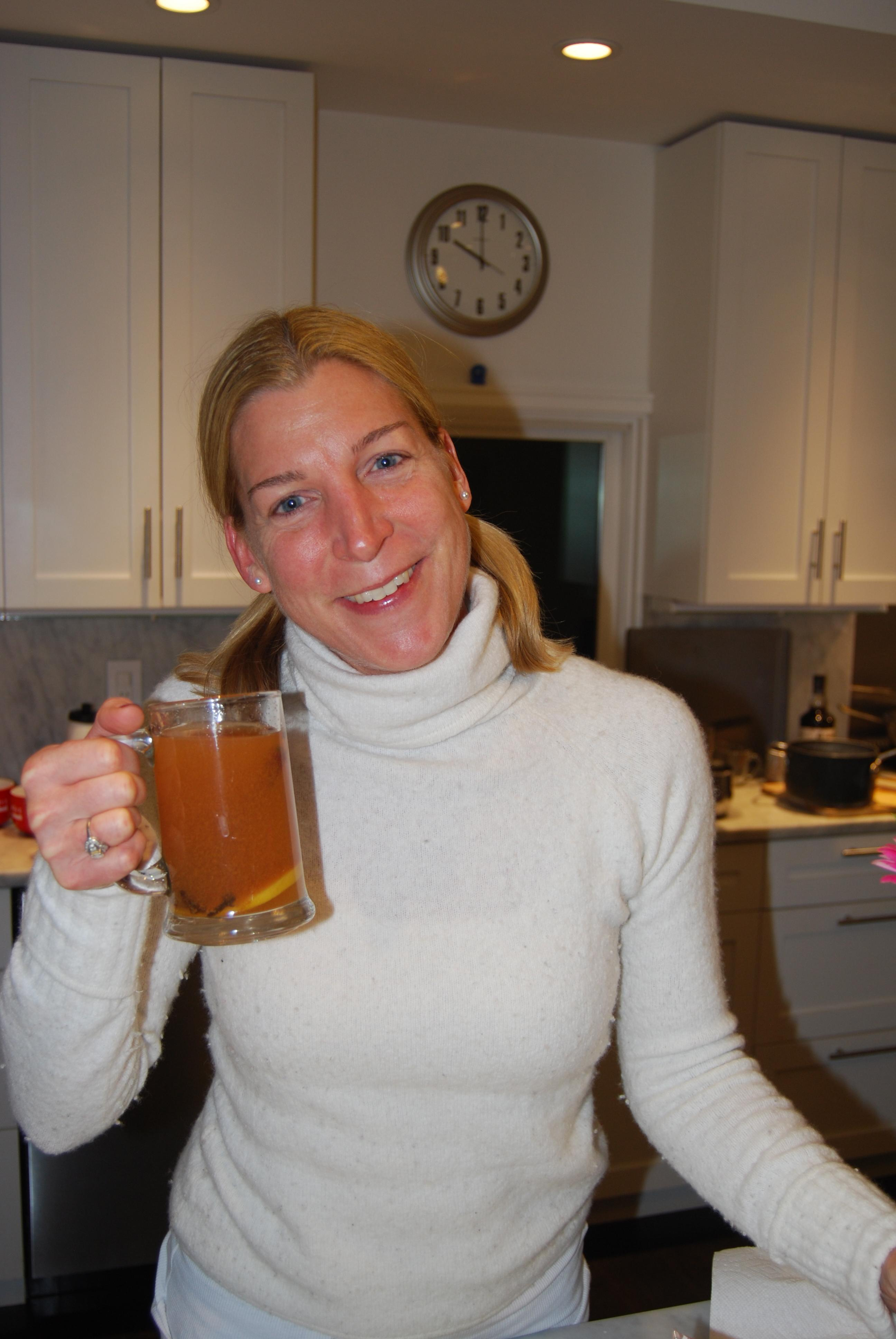 Hot spiced cider with Gosling's Rum, of course! Here, Joanna, clean ...