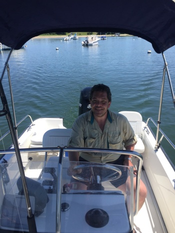 Brian heading out on boat